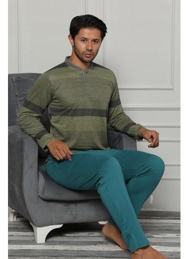 Akbeniz Erkek Pamuk Cepli Uzun Kollu Pijama Takımı 6704 Yeşil
